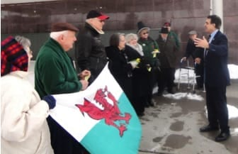 Raising the flag on St. David's Day in Utica, New York.